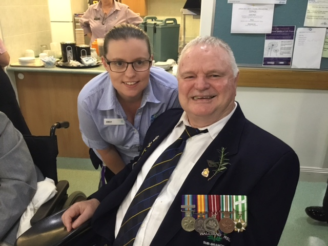 RN Emily with Resident and Vietnam Vet Rob Murray