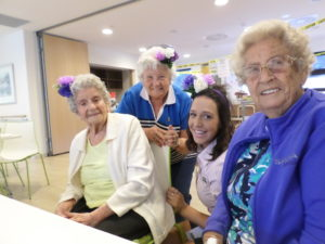 Cassie, Lorna and Joan from Regis Blackburn care home recently celebrated Spring Carnival 2017 Oaks Day